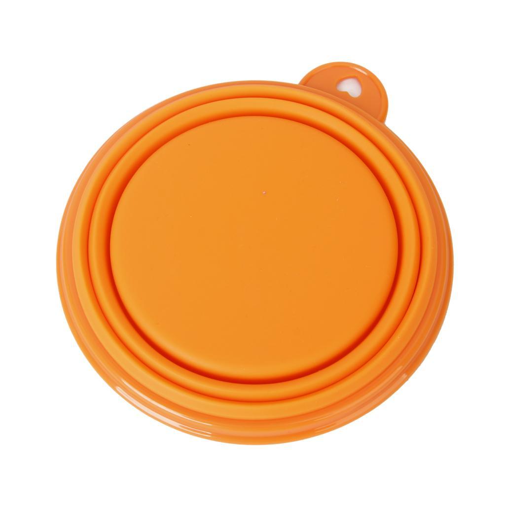 Orange Portable Pet Dog Cat Food Water Bowl Foldable Collapsible Feeder