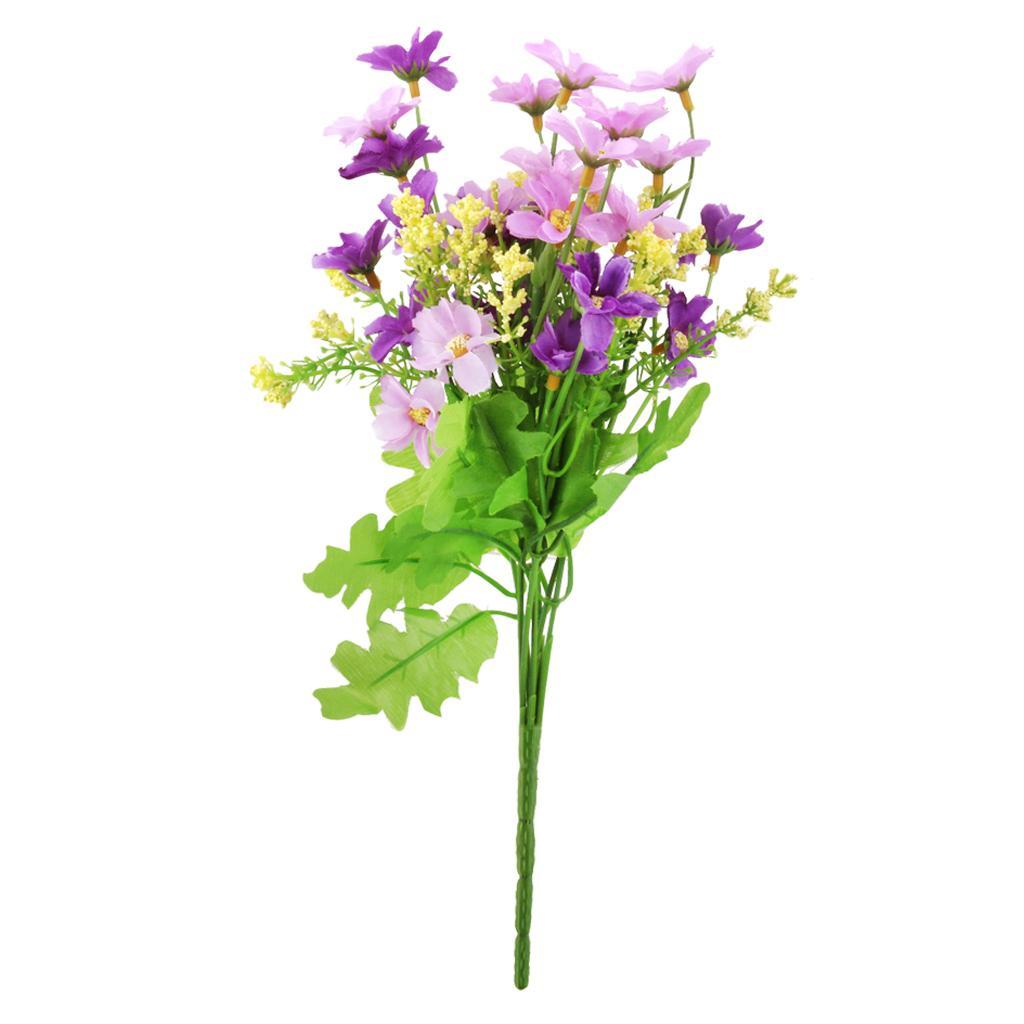 1 Bunch Fake Cineraria Artificial Flower Bouquet Home Office Decor - Fuchsia and Purple