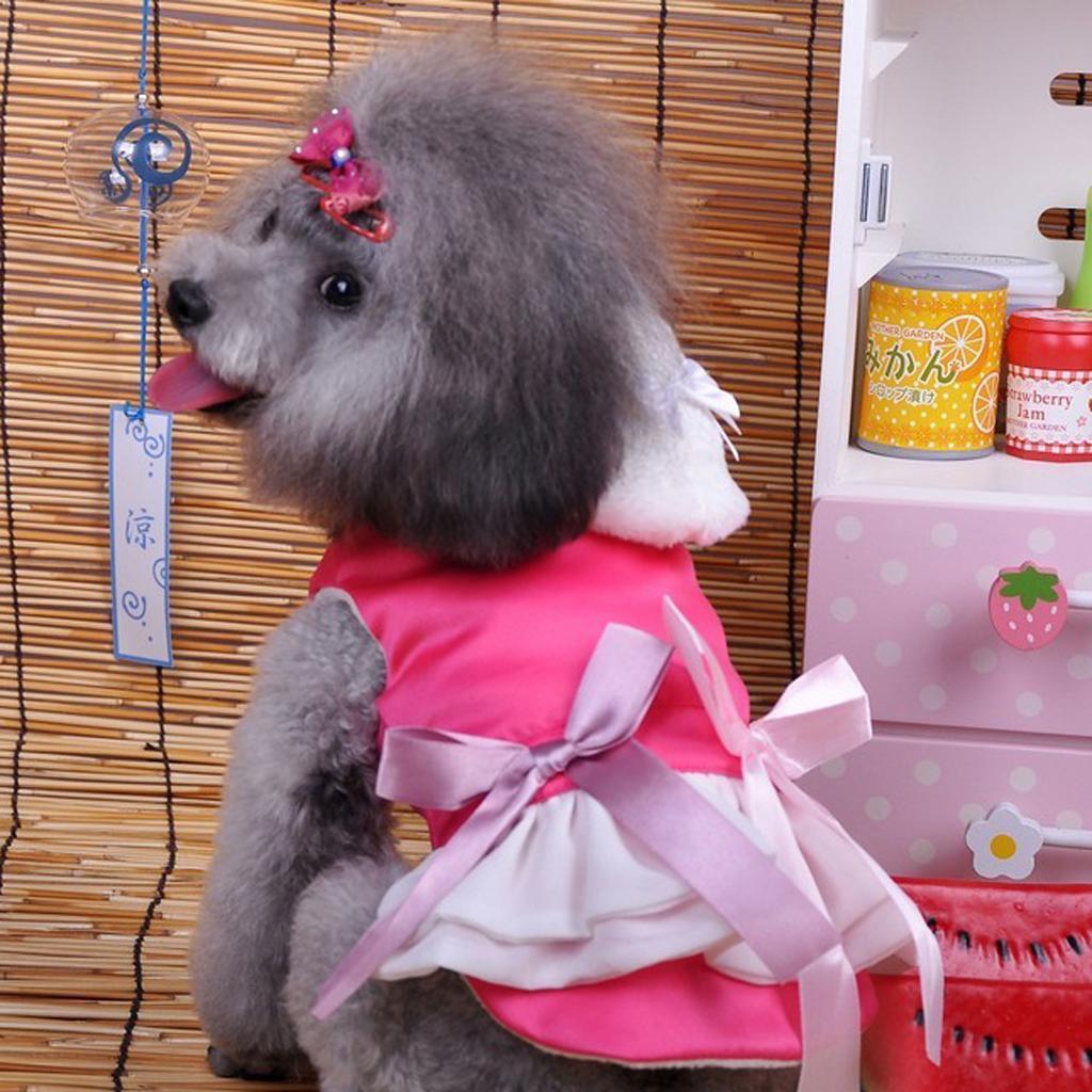 Pet Dog Rose Red Winter Hoodie Princess Dress Coat Clothes Apparel - L