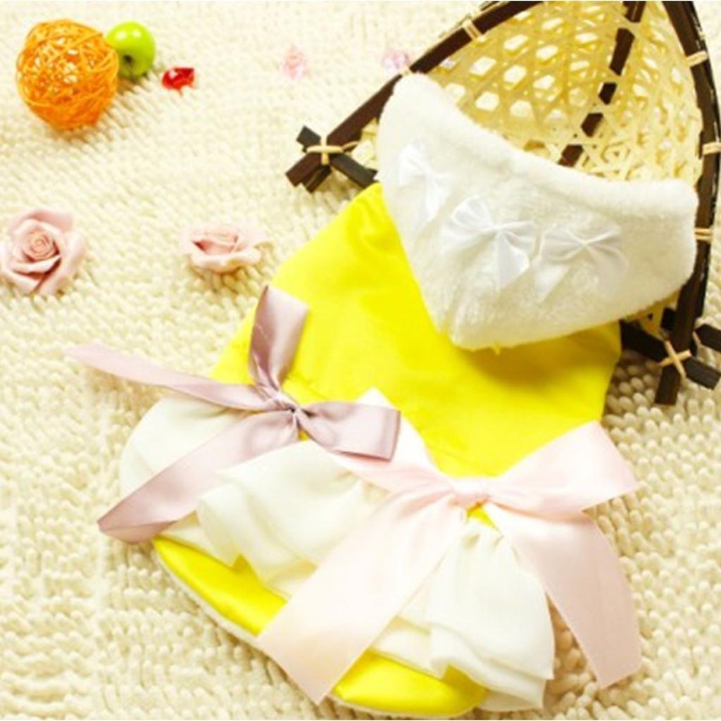 Pet Dog Yellow Winter Hoodie Princess Dress Coat Clothes Apparel - M