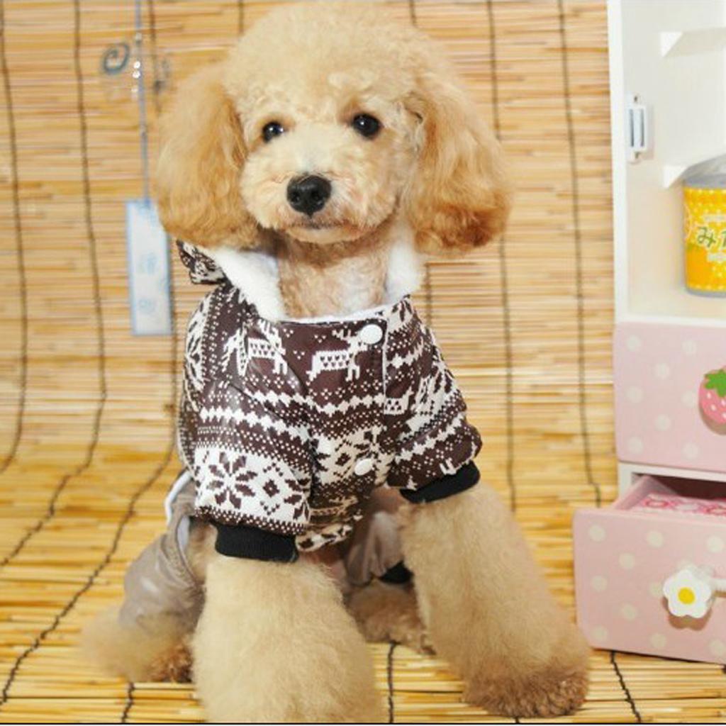 Pet Dog Hoodie Winter Jumpsuit Coat Jacket Coffee- Size XL