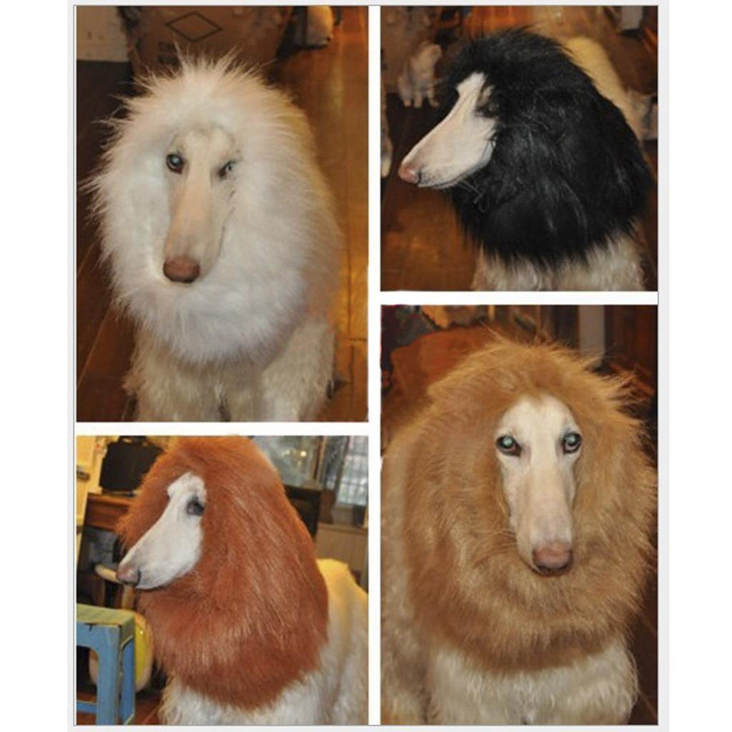 Pet Costume Lion Mane Wig for Dog Halloween Clothes Festival Fancy Dress up - Brown