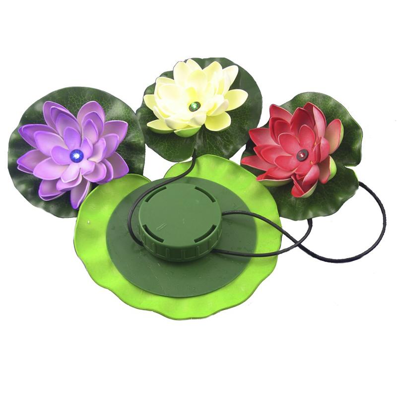 Solar Powered LED Lotus Light Flower Lamp Floating Pond Garden Lawn Pool Nightlight