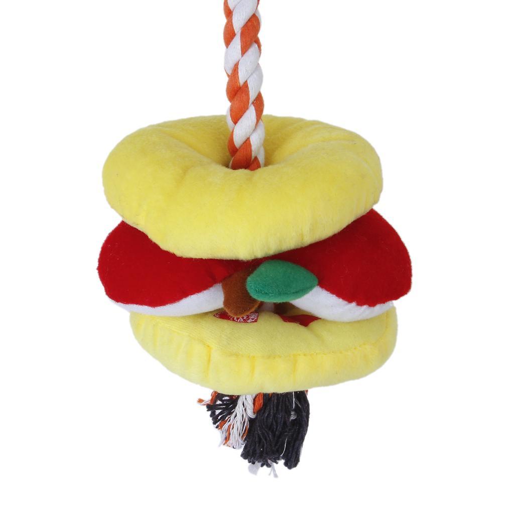 Pet Dog Fruit Shape Plush Stuffed Braided Rope Toy Squeaky Play Toys
