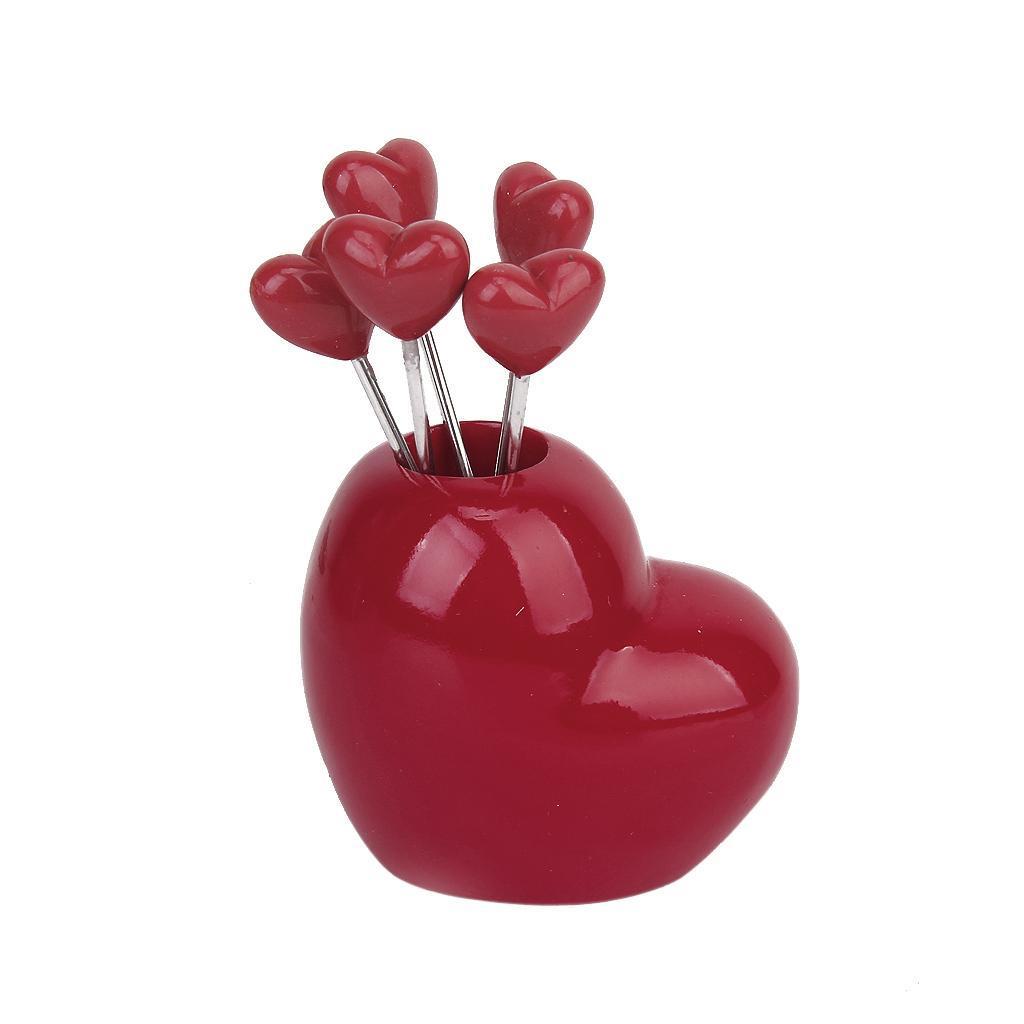 5pcs Heart Shape Holder Fruit Stainless Fork Set