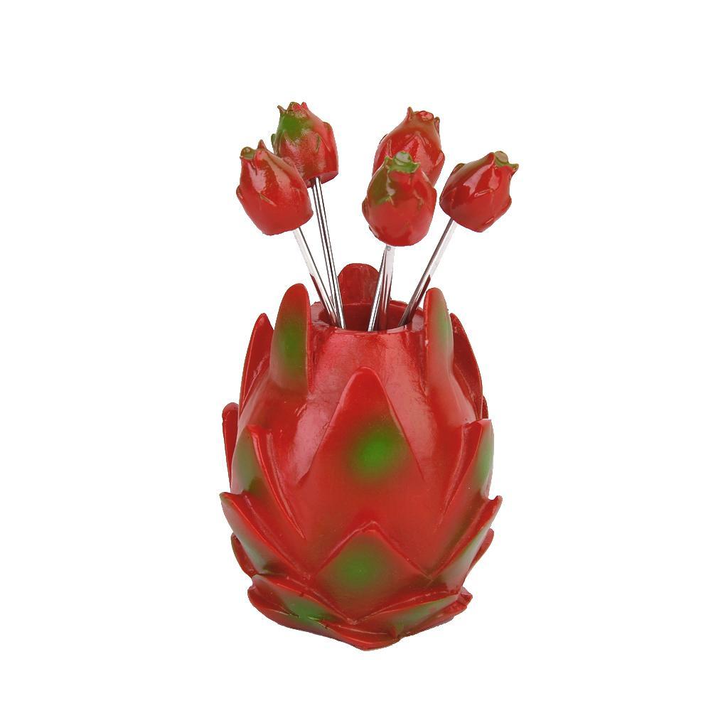 5pcs Pitaya Shape Holder Fruit Stainless Fork Set