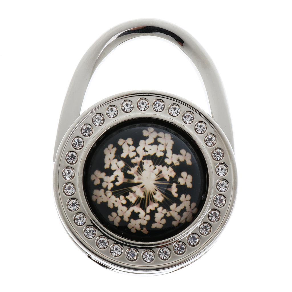 Round Bag Shaped Pressed Flower Rhinestone Folding Handbag Hanger Hook - Black