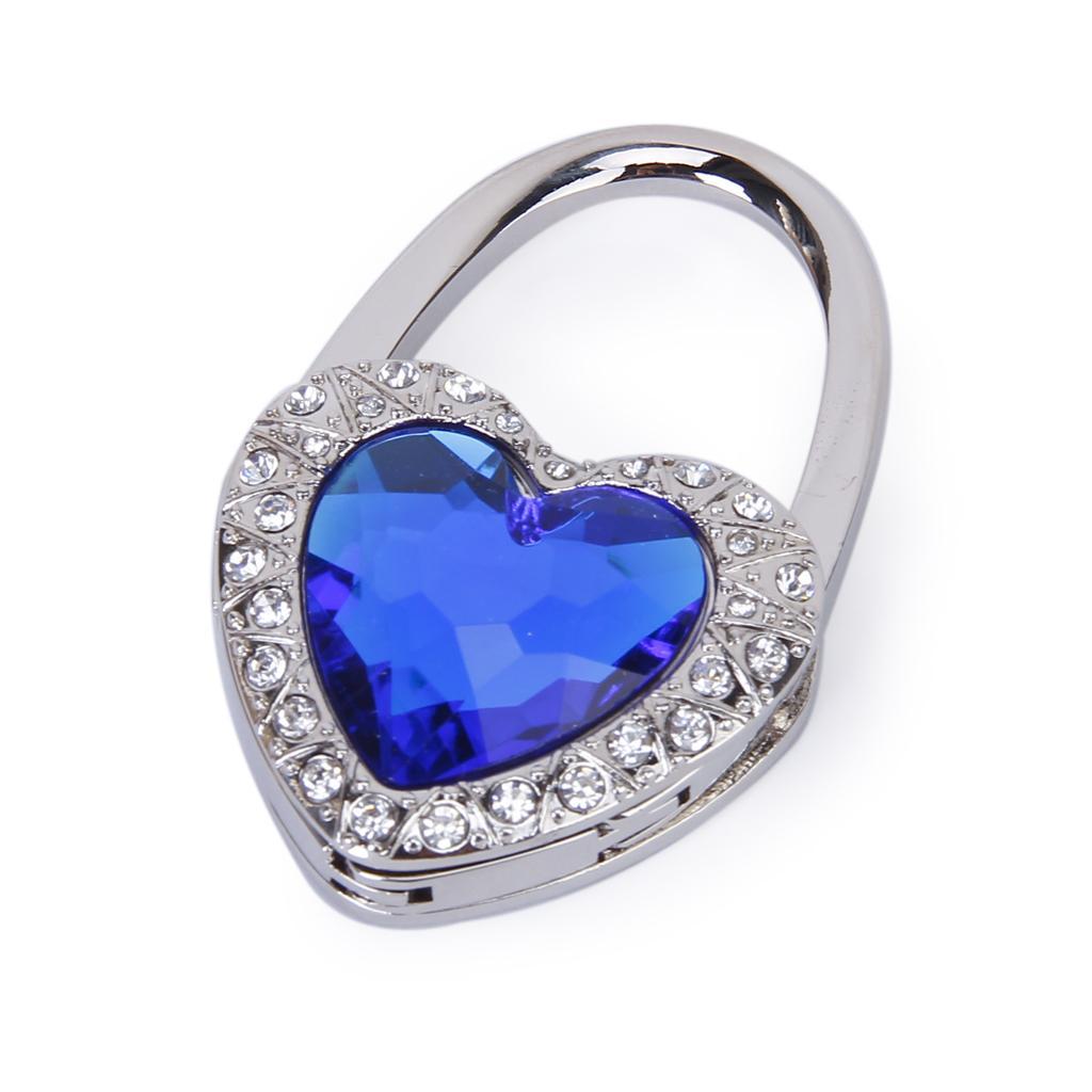 Royalblue Heart Shape Rhinestone Folding Purse Handbag Hanger Hook Holder