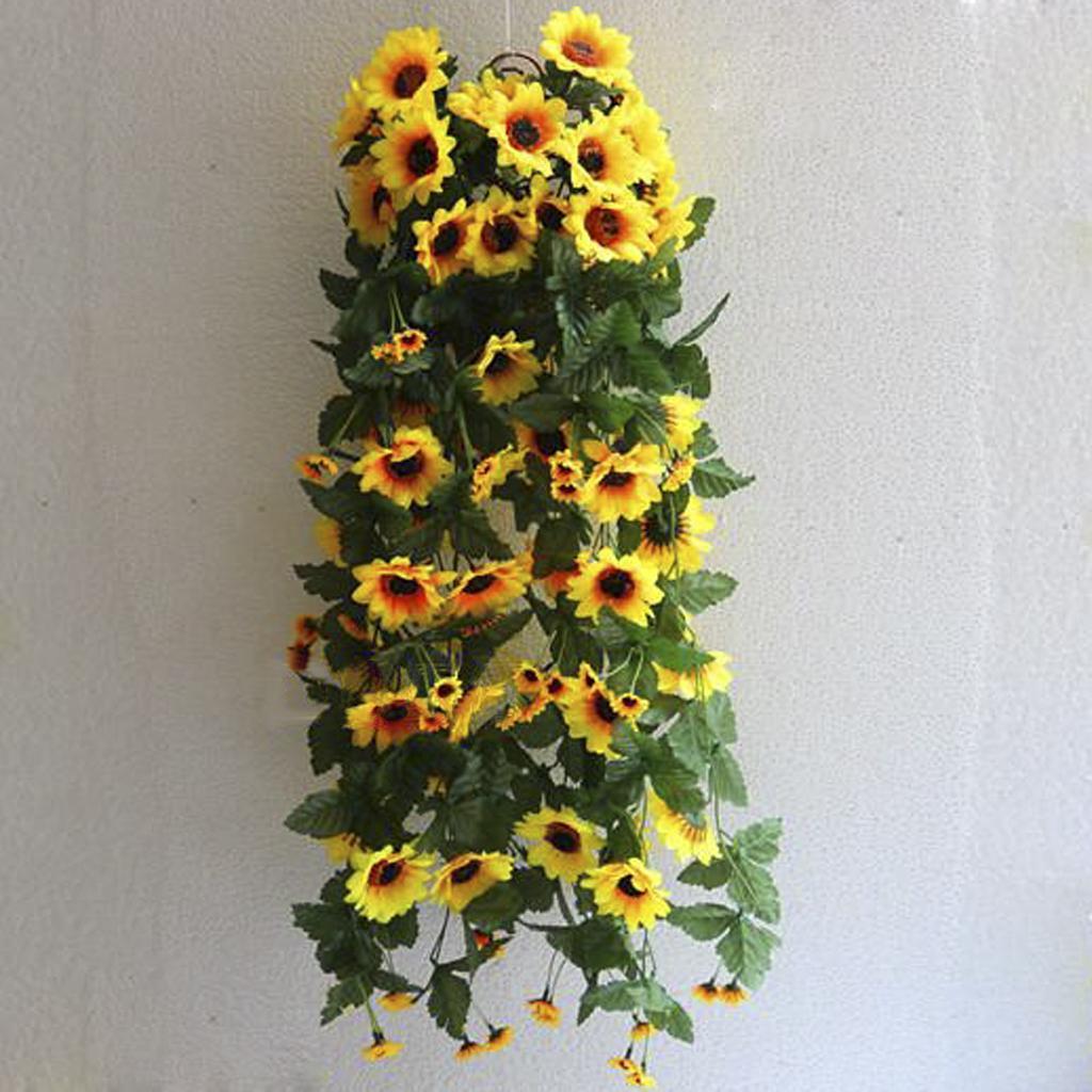 2 Bunch of Artifical Sunflower Traling Bracketplant Faux Hanging Flower Leaf  Fake Bush Plant