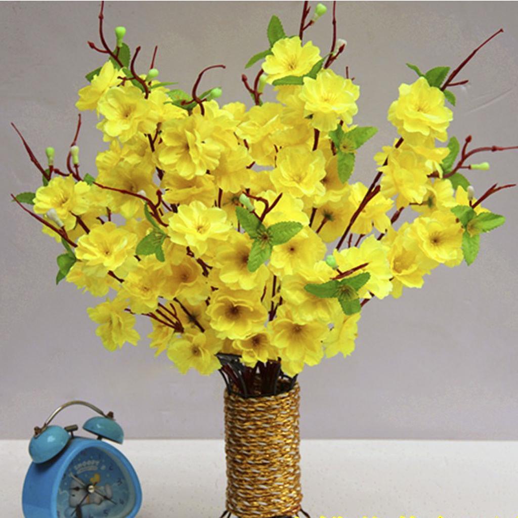 2 Pcs 16.14'' Artificial Spring Peach Blossom Spray Branch Silk Flower Tree - Yellow
