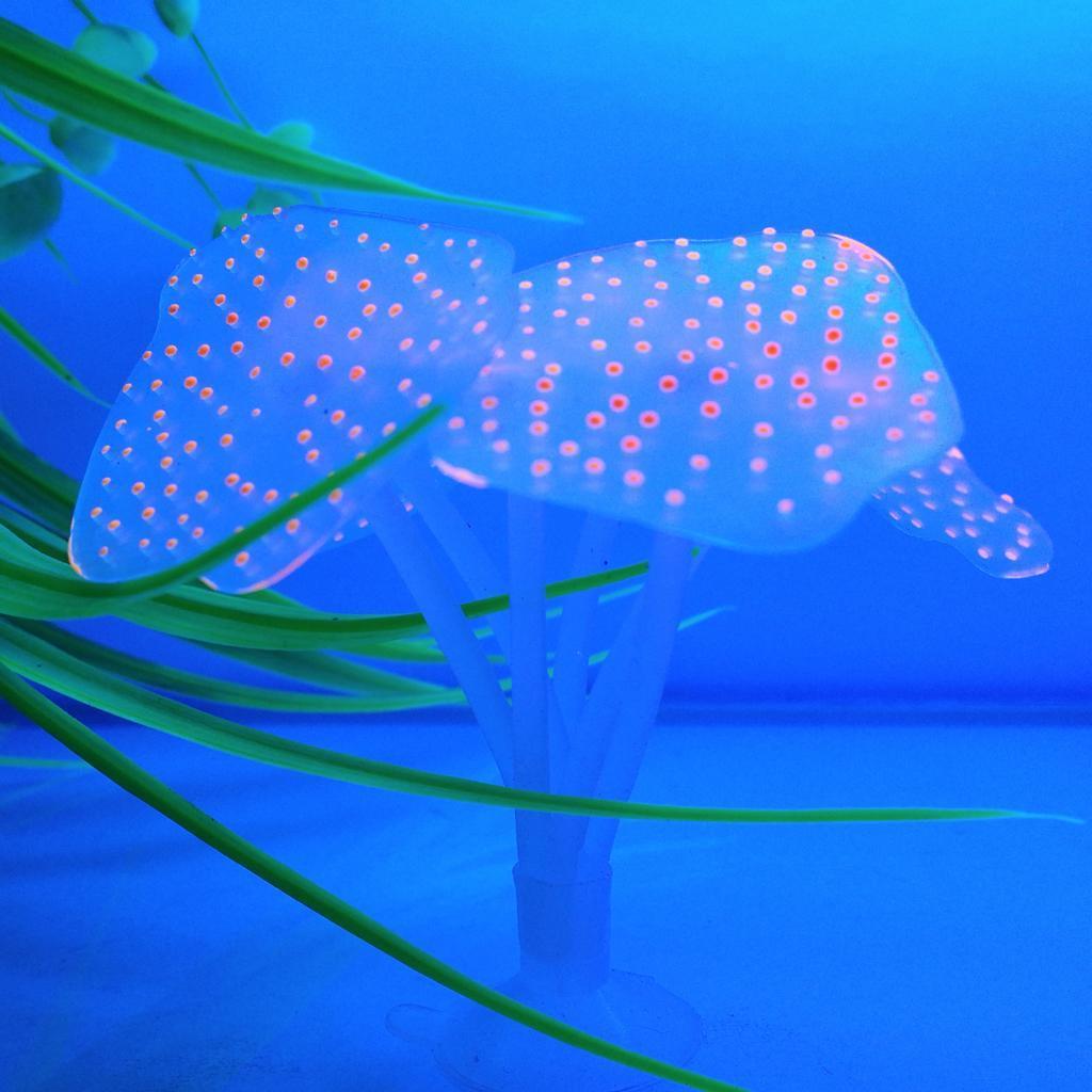 Silicone Aquarium Fish Tank Decor Artificial Coral Plant Underwater Decoration - Orange