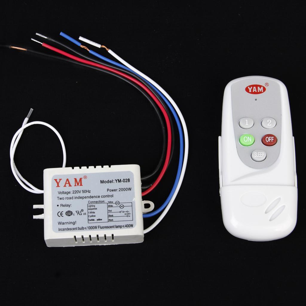 2-Way ON/OFF 220V-240V Light Digital Wireless Wall Switch + Remote Control