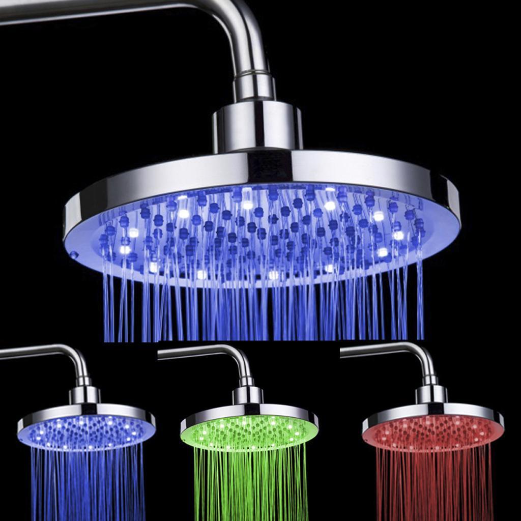 Round Shape Three-Colored Temperature Sensor Spray LED Shower Spray Head
