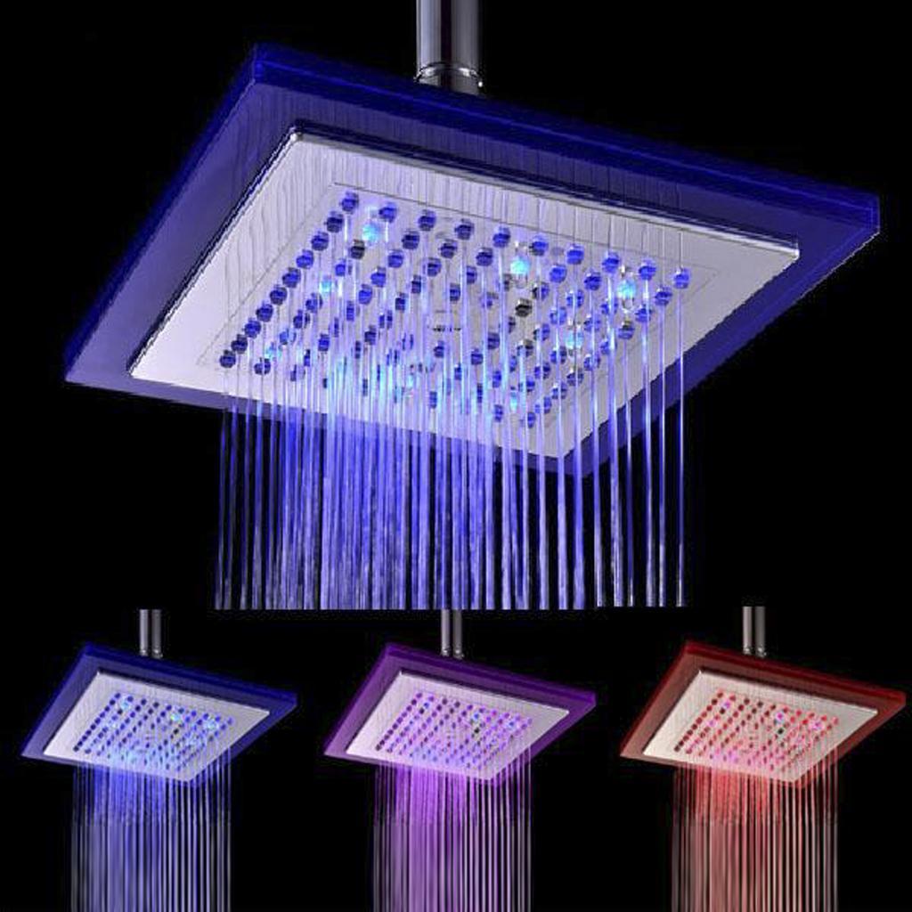 Square Shape Three-Colored Temperature Sensor Spray LED Shower Spray Head