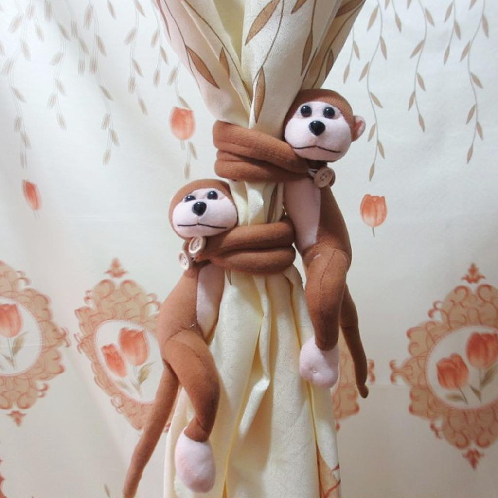 1 Pair of Naughty Play Monkey Curtain Tie Back Tiebacks