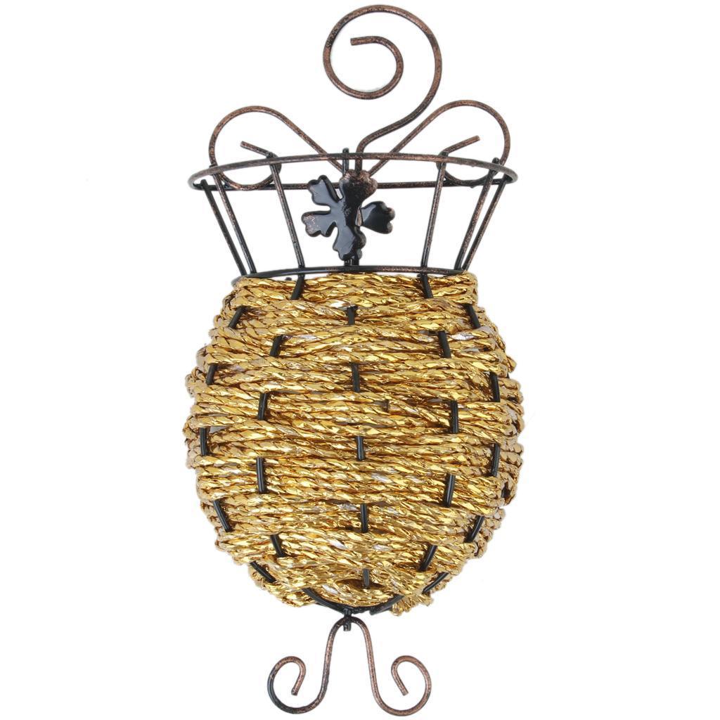 Wall Hanging Flower Basket for Home Flower Storage Decoration Gift - Golden