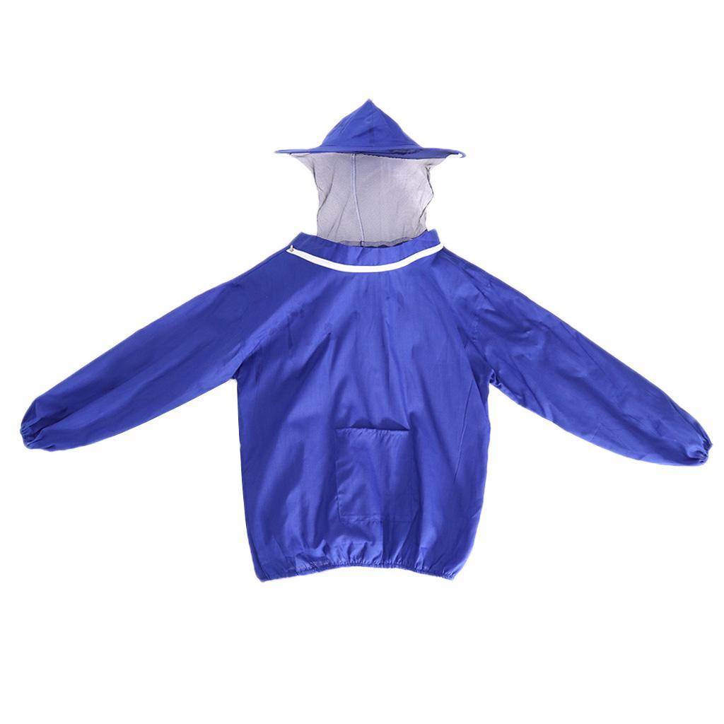 Professional Beekeeping Jacket Veil Bee Protecting Suit Dress Smock Equipment - Blue