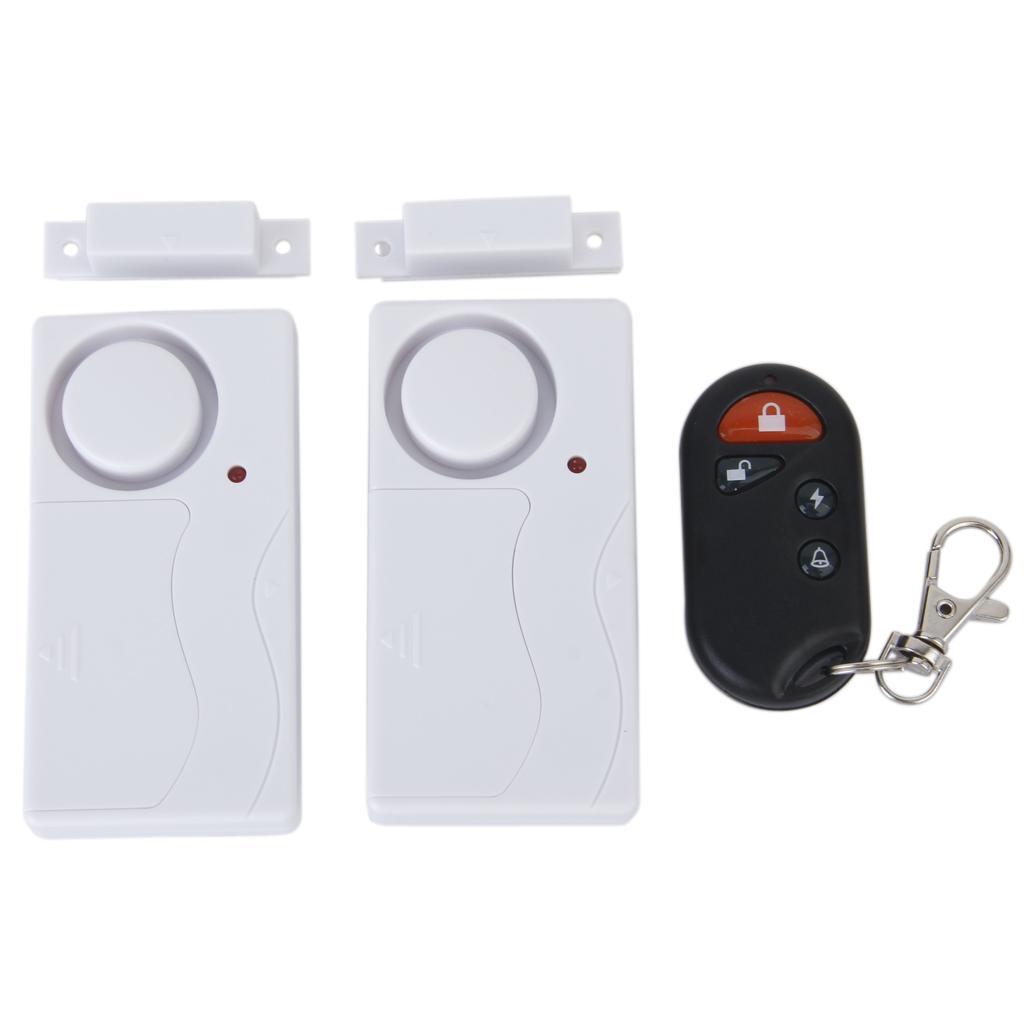 2pcs Wireless Magnetic Sensor Door Window Entry Safety Burglar Alarm with Remote Control