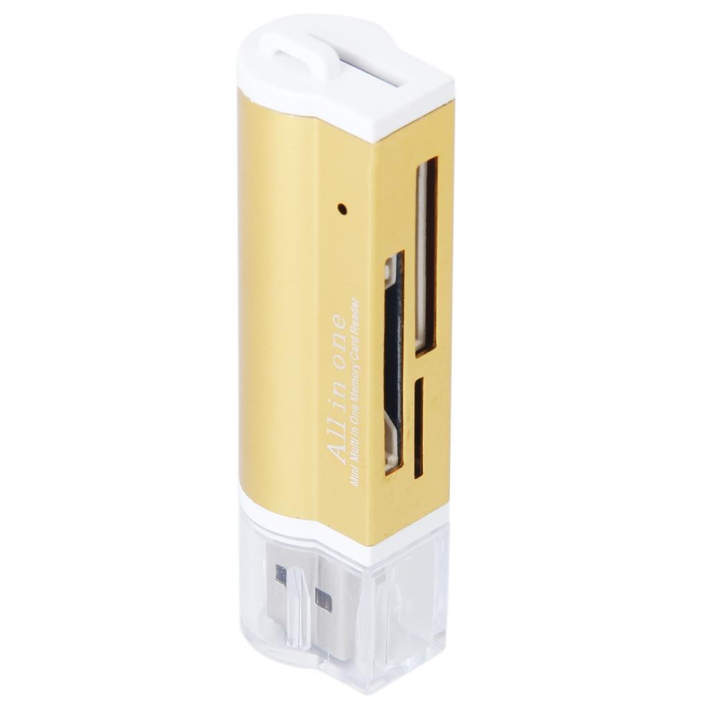 Mini Golden 4 Ports USB 2.0 SD/MMC/RS MMC/Mini SD /TF All in one Memory Card Reader