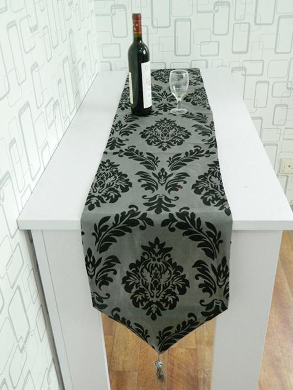 Dark Gray Table Runner Cloth Wedding Decor Flocked Damasks 78 x13 inch