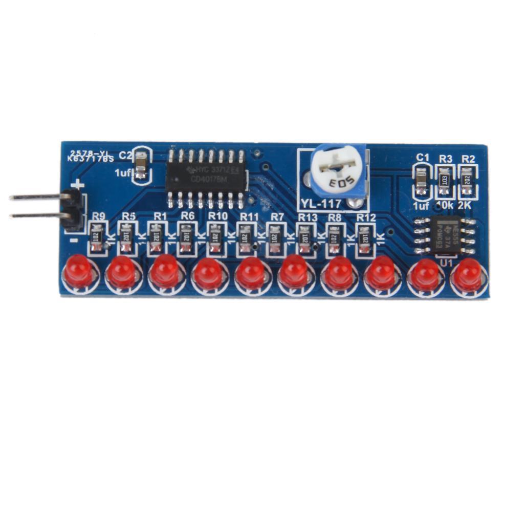 NE555 Light Water + CD4017 Decimal Counting Circuit Module DIY Kits
