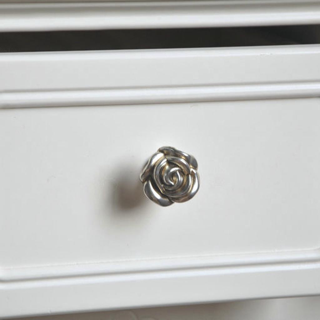 Antique Silver Rose Cabinet Drawer Furniture Door knob Handle Pull Hardware 33mm