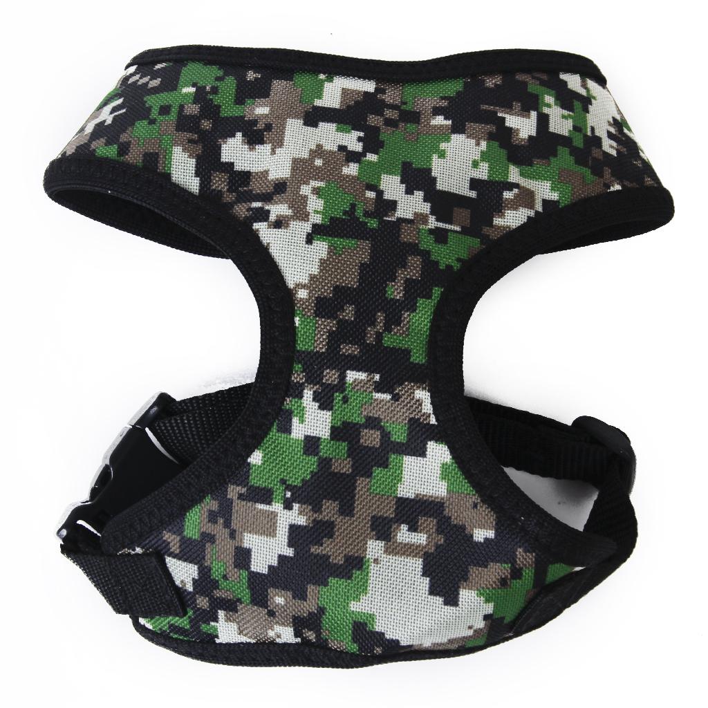 Pet Dog Puppy Soft Mesh Adjustable Harness Clothes Size L - Camo Green