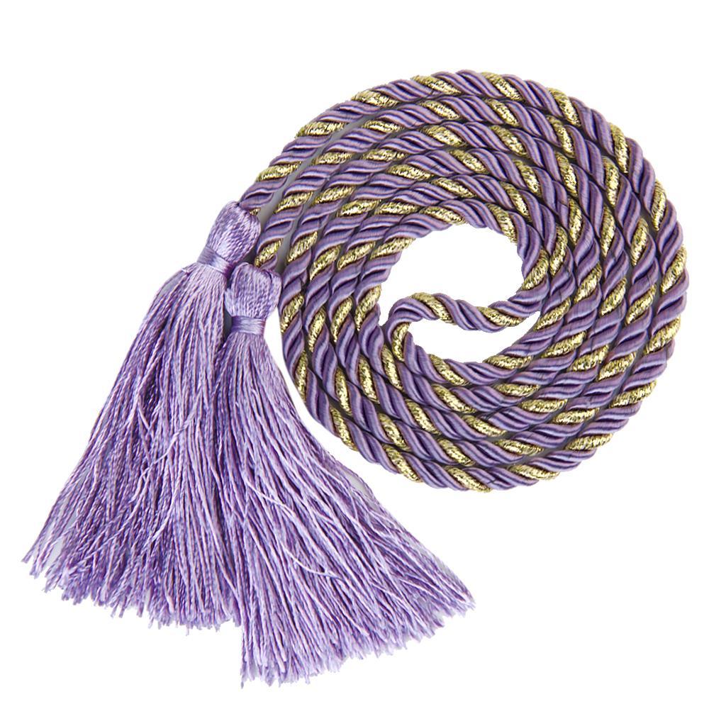 1 Pair Tassel Rope Curtain Tiebacks Tie Backs Living Bed Room Purple + Golden