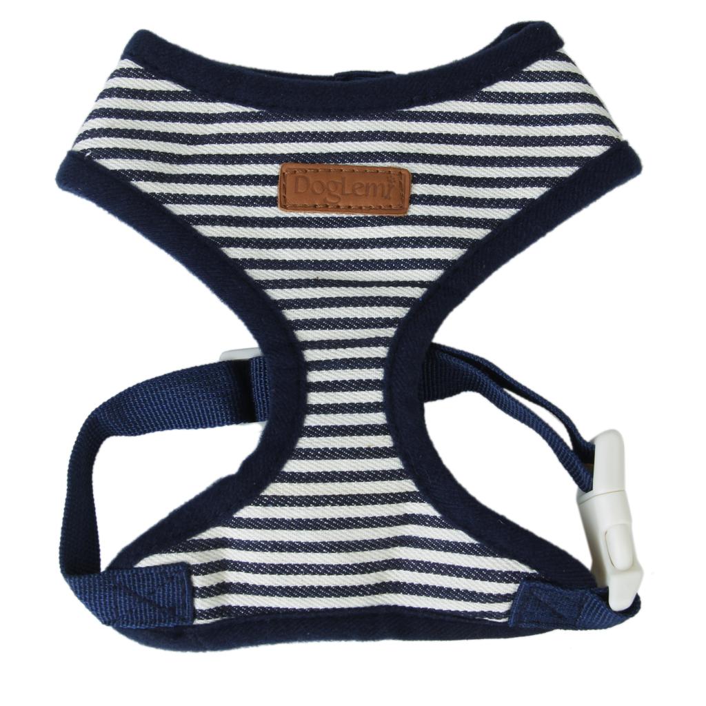 Pet Dog Puppy Dark blue Striped Mesh Adjustable Harness Clothes Size XL