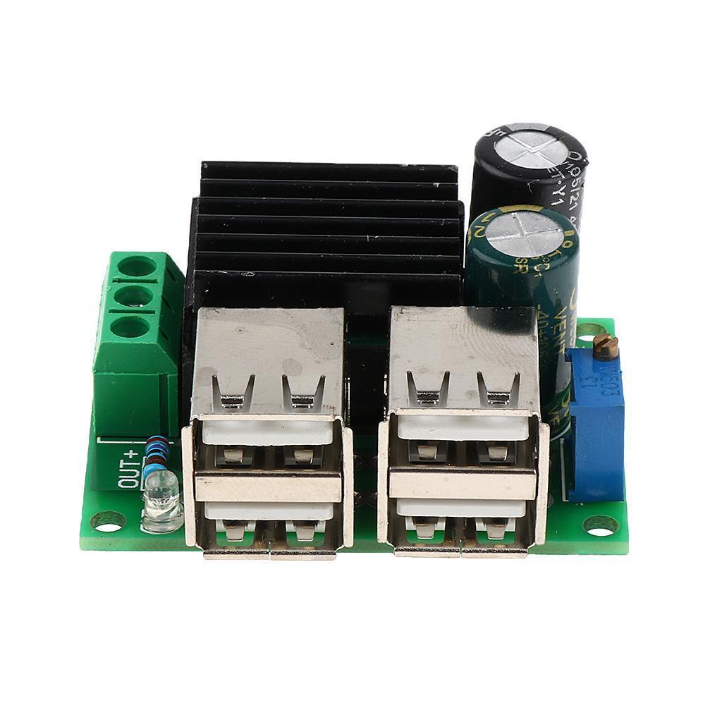 DC 9V 12V 24V 35V to 3-6V Adjustable Step Down 4-USB Step-down Power Module