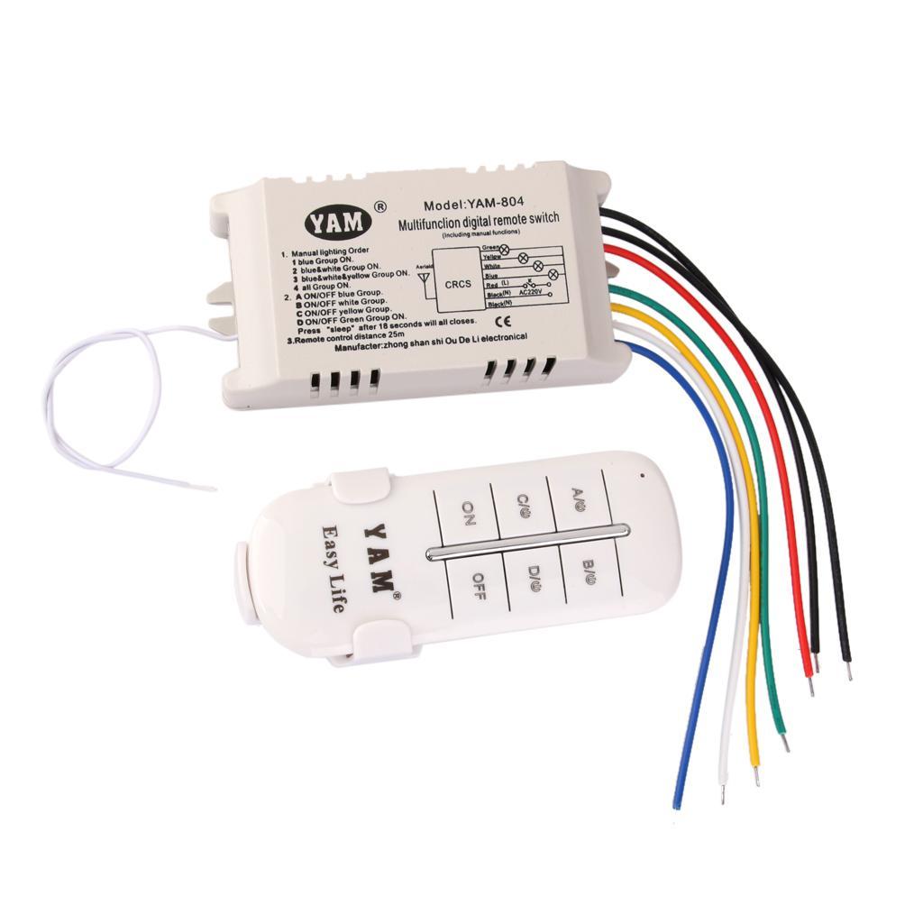 4-Way ON/OFF 220V-240V Light Digital Wireless Wall Switch w/ Remote Control