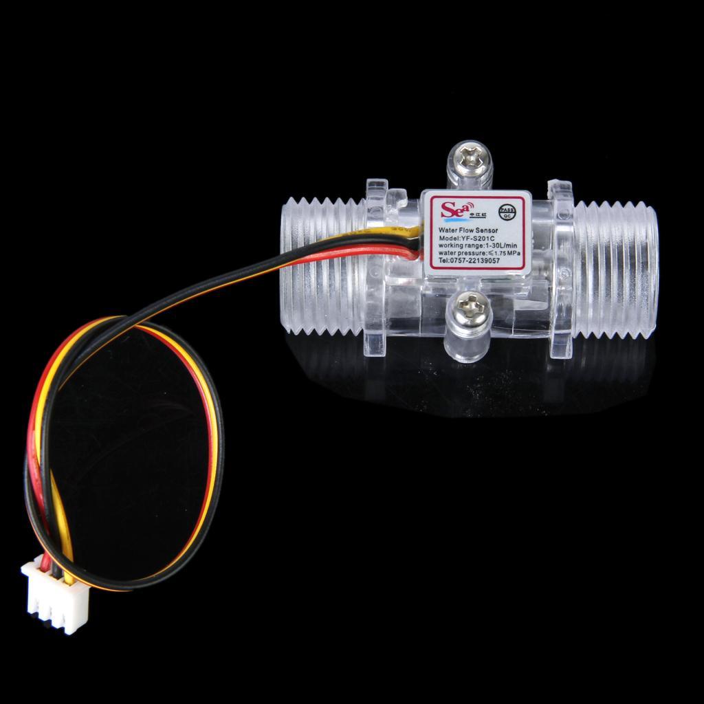 Transparent Water Flow Sensor Flowmeter Hall Flow Sensor Water control 1-30L/min