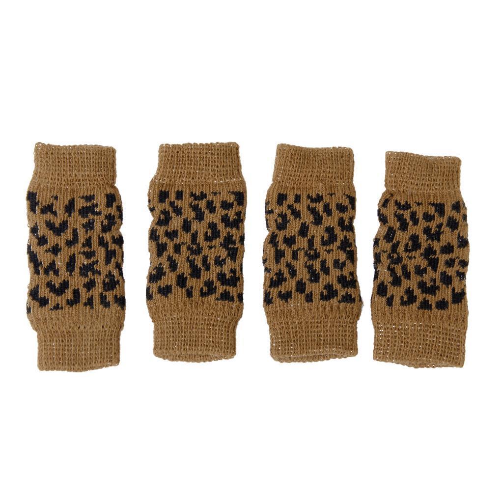 4pcs Elastic Pet Dog Leg Warmer Socks Sleeves Protectors Leopard print Size M