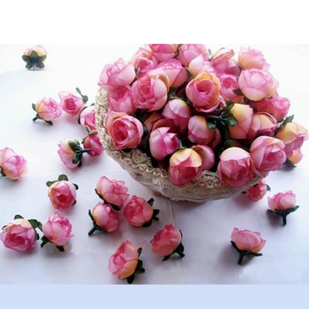 50pcs 3cm Artificial Silk Roses Flower Heads Wedding Decoration- Pink