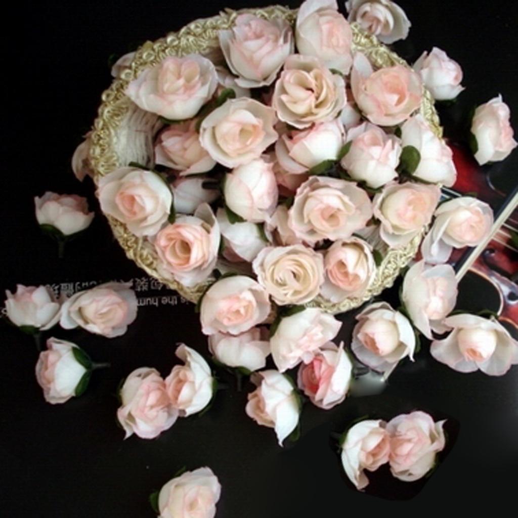 50pcs 3cm Artificial Silk Roses Flower Heads Wedding Decoration- Light pink