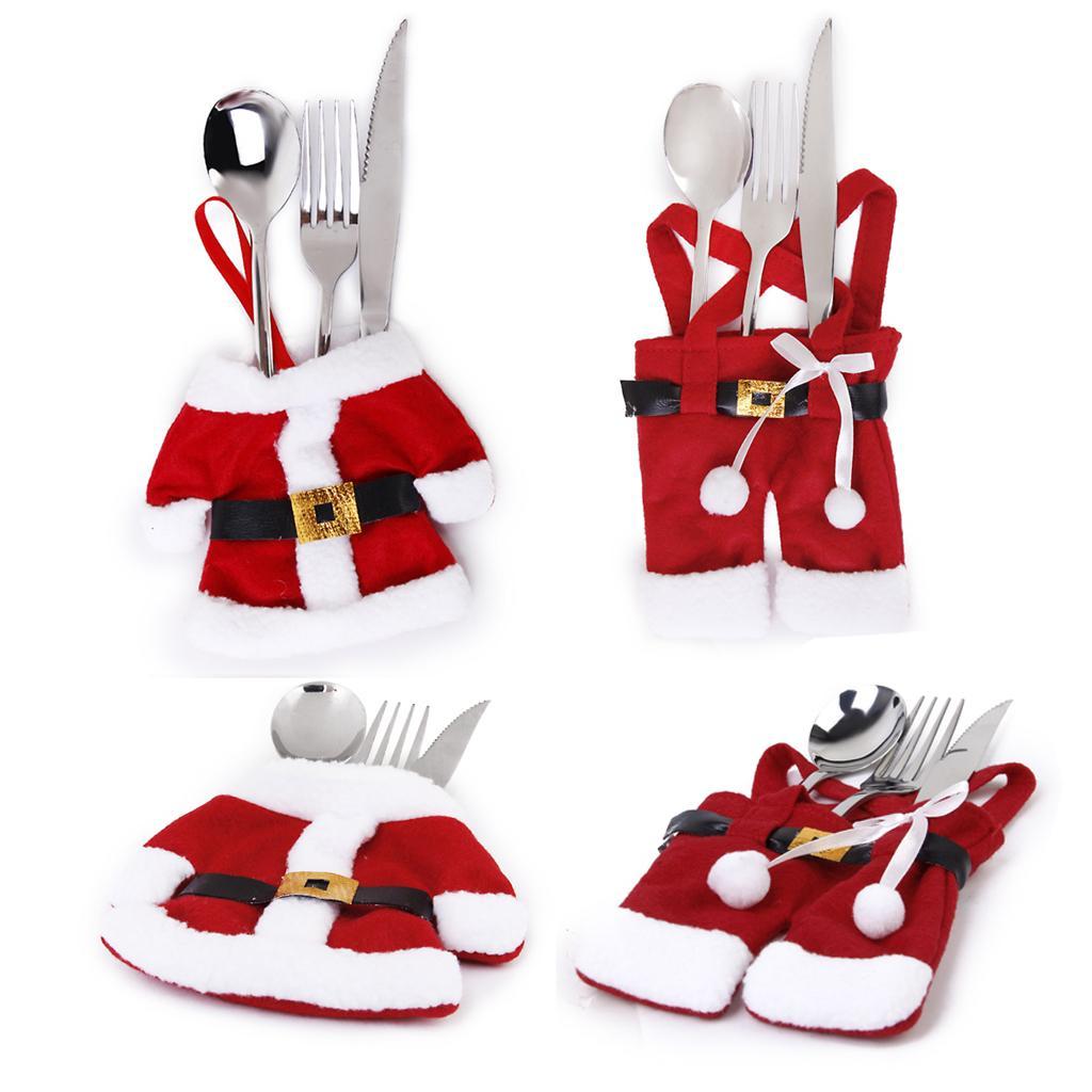 4 pcs Happy Santa Claus Tableware Silverware Suit Christmas Dinne...