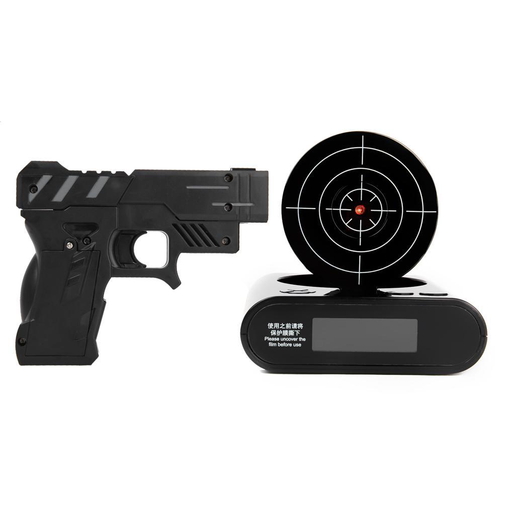 Gun Alarm Clock Target Wake Up Shooting Game Toy Novelty: Gun Target Alarm Desk Clock Gadget With Black Gun