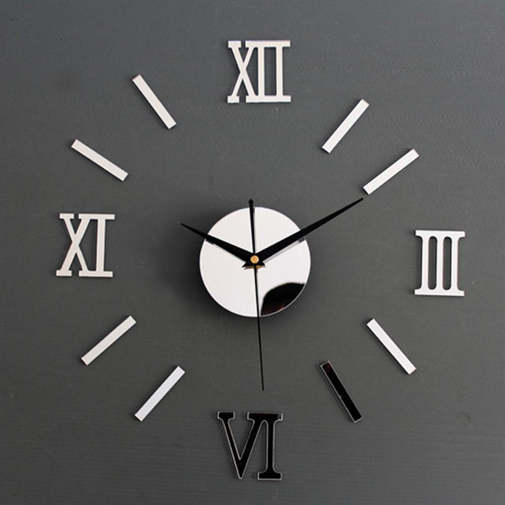 Silver DIY 3D Roman Numbers Watch Clock Home Decor Mirror Face Wall Sticker