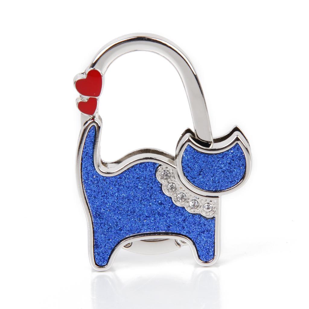 Unisex Table Cat Foldable Purse Bag Rhinestone Hanger Hangbag Hook Holder Safer Gift – Blue