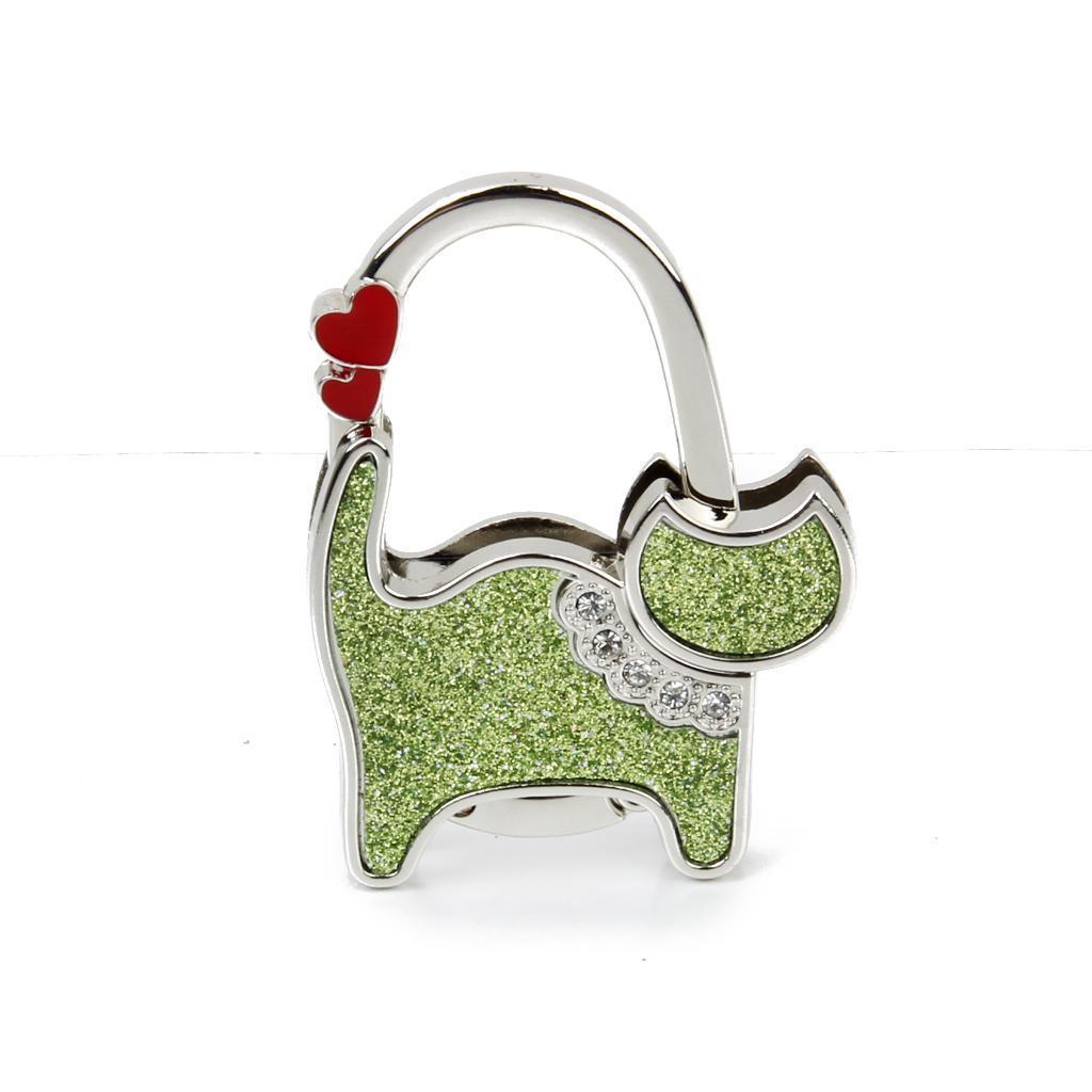 Unisex Table Cat Foldable Purse Bag Rhinestone Hanger Hangbag Hook Holder Safer Gift – Green