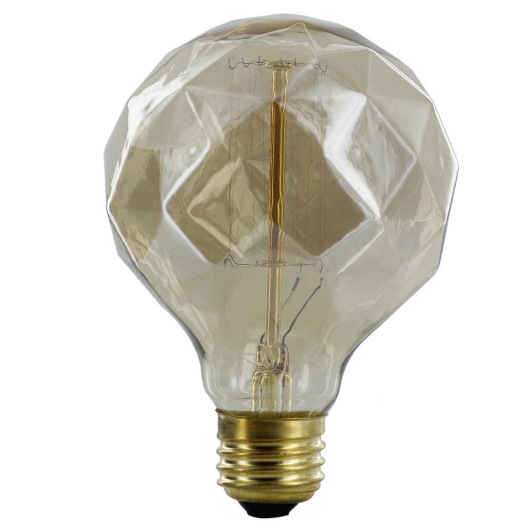 E27 220-240V Silvering Edison Tungsten Filament Bulb G80 Diamond Shaped