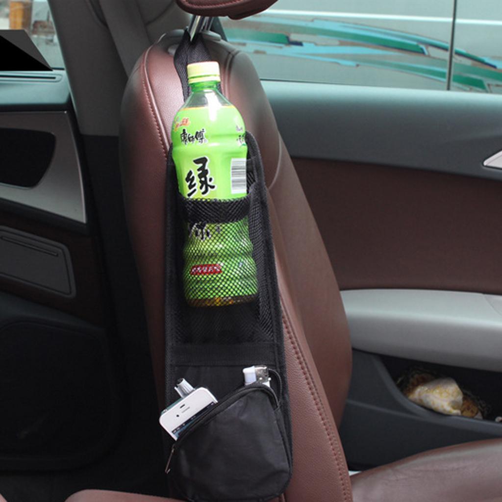 Universal Car Seat Side Storage Bag Pocket Organizer Bag Hanger Holder Black