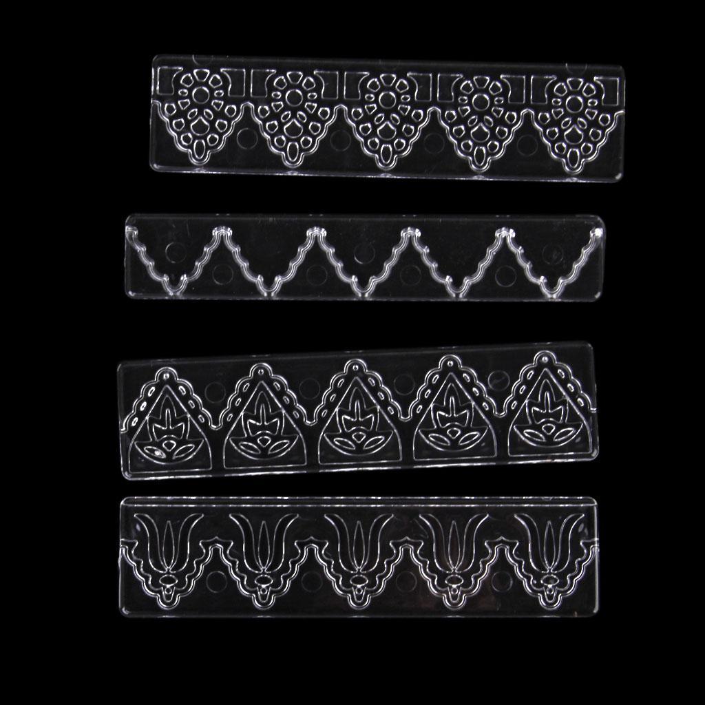 4 x Plastics Fondant Cake Lace Sugar Craft Mat Cake Texture Mold ...