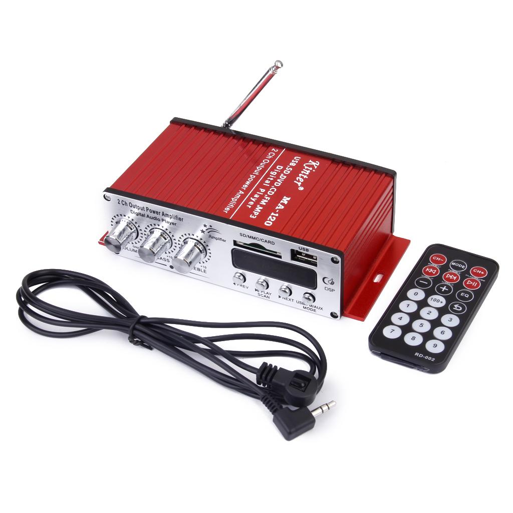 DC 12V-15V Hi-Fi Mini Stereo Audio Amplifier Digital Display USB/MP3/SD Red