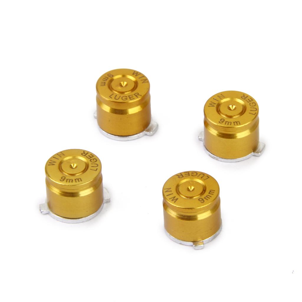 4 x Joystick Aluminum Metal Bullet Buttons Set for PS3/PS4 Controller Golden