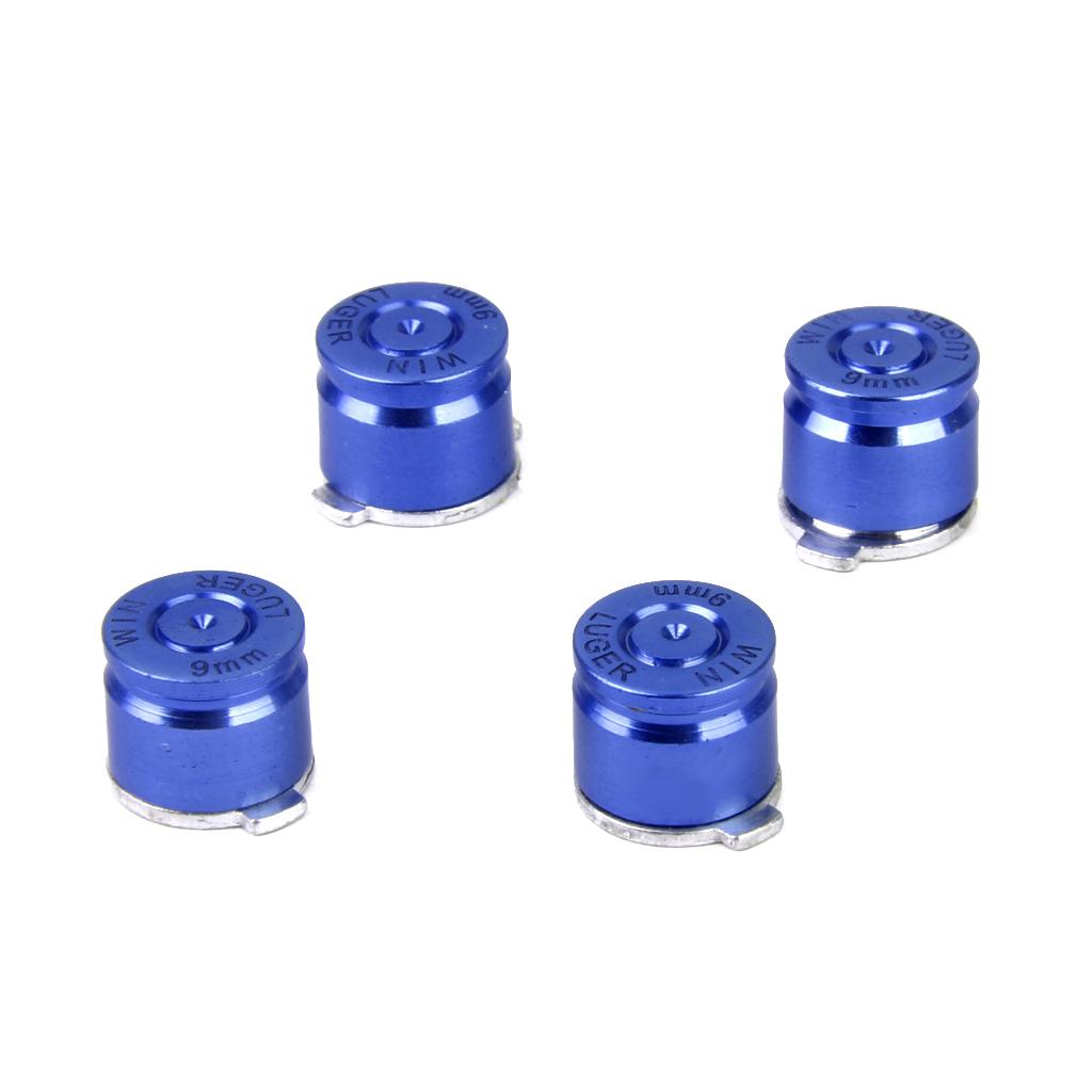 4 x Joystick Aluminum Metal Bullet Buttons Set for PS3/PS4 Controller Blue