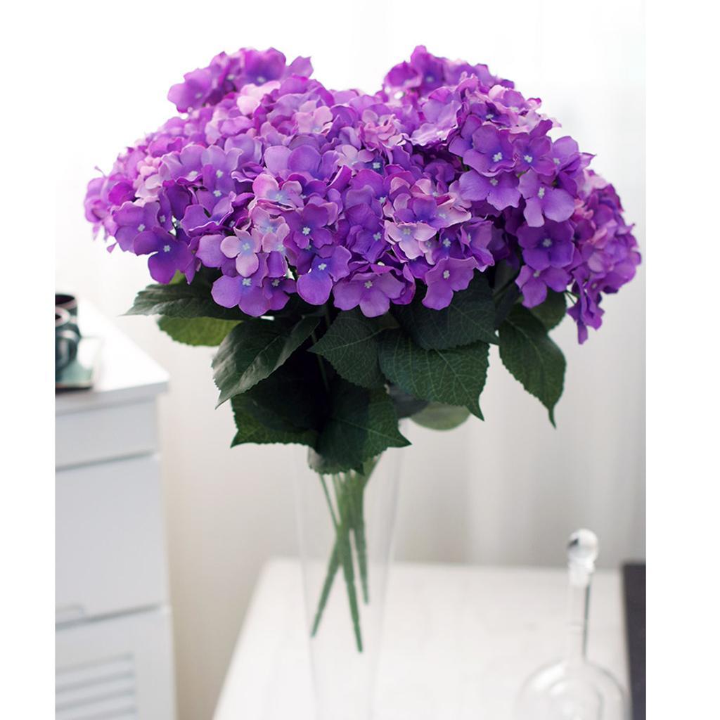Artificial Silk Flower Hydrangea Bouquet Wedding Home Decor Light Purple