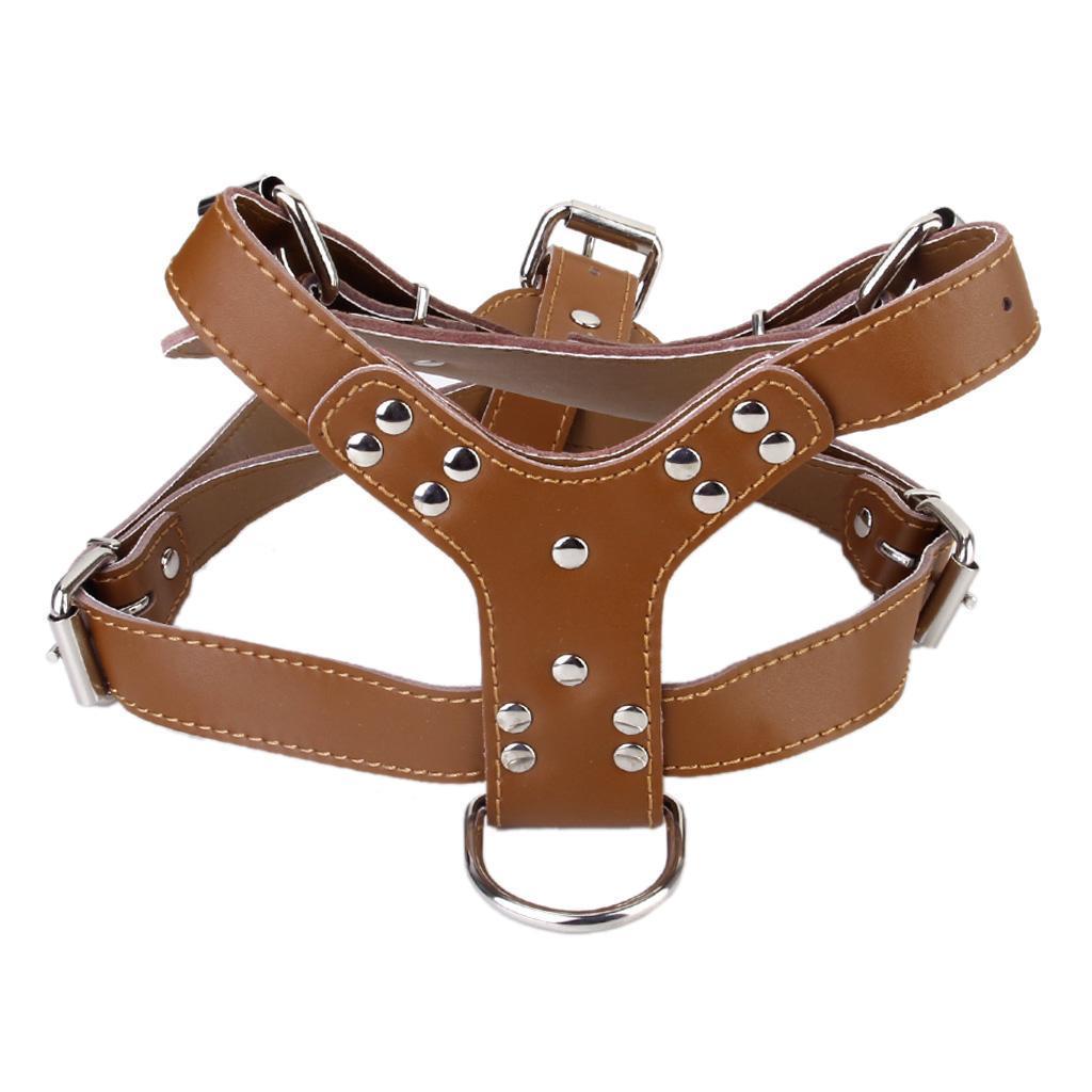 Genuine Leather Adjustable Dog Chest Strap Belt Harness Pet Walki...
