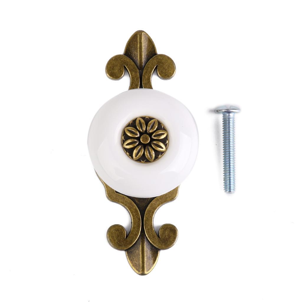 Ceramic Drawer Door Cabinet Pull Handle Knob Round Handles 1pcs White