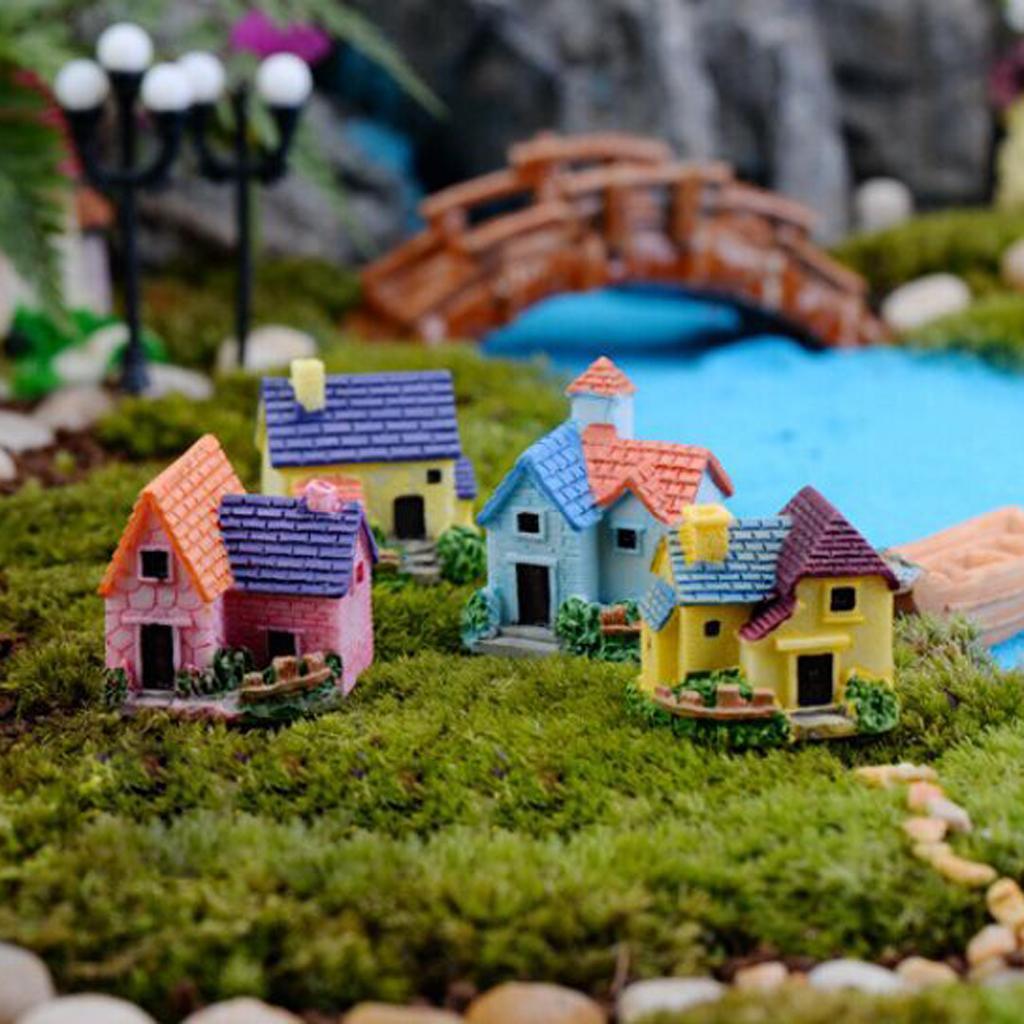 Miniature Dollhouse Bonsai Craft Garden Resin Landscape DIY Villa Decor 4pcs